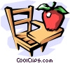 school desk with apple Vector Clipart picture