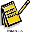 Vector Clipart graphic  of a notepad and pencil