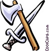 Vector Clipart picture  of an axe and sword