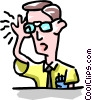 Vector Clipart picture  of a man holding glasses