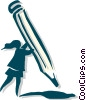 Vector Clipart image  of a woman holding pencil