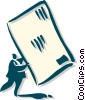 Vector Clip Art image  of a man holding envelope