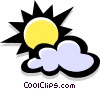 Vector Clip Art image  of a sun and cloud