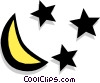 Vector Clipart graphic  of a moon and stars