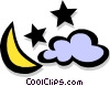 Vector Clipart picture  of a moon/stars/cloud