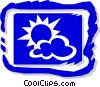 Vector Clip Art graphic  of a Sun and clouds