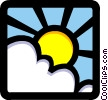 Sun and clouds Vector Clipart graphic