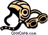 Vector Clipart graphic  of a racing helmet and goggles