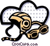 Vector Clip Art graphic  of a helmet and goggles
