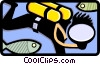 Scuba Diver non-realistic Vector Clipart illustration