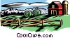 Farm with barn and silo Vector Clipart picture