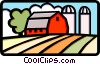 Vector Clipart graphic  of a Farm with silo