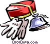 bellman's hat gloves and bell Vector Clipart picture