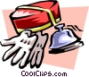 Vector Clip Art graphic  of a bell hops hat and gloves