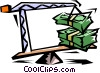 Vector Clip Art picture  of a crane with dollar bills