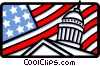 Vector Clip Art graphic  of a Capitol building and American