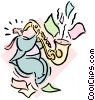 Vector Clipart illustration  of a musician/sax