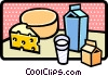 Carton of milk and cheese Vector Clip Art image