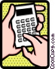 Vector Clipart graphic  of a hands on calculator