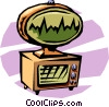 cartoon 50's style communications screen Vector Clipart picture