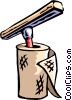 Vector Clip Art image  of a paper towels with sponge