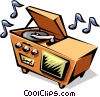 50's style home stereo system Vector Clipart illustration