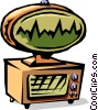 cartoon 50's style communications screen Vector Clip Art picture