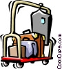 hotel luggage cart Vector Clipart illustration