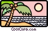 Vector Clip Art image  of a Tropical landscape