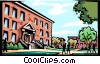 Vector Clip Art image  of a School building with kids