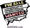 for sale/wanted advertisement Vector Clipart image
