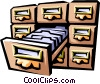 Vector Clip Art graphic  of a card index/filing cabinet