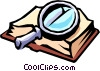 Magnifying glass with book Vector Clipart graphic