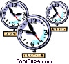 clocks international time zones Vector Clip Art image