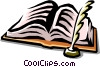 Vector Clipart illustration  of a book and quill pen