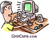 Vector Clip Art picture  of a man working at computer