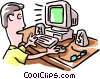man working at computer Vector Clip Art graphic
