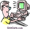 Vector Clipart graphic  of a man working at computer