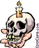 Skull with candle Vector Clip Art picture