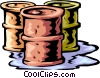 oil drums leaking, business Vector Clipart image