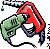 gas station drill and gas hose Vector Clipart graphic