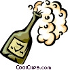 Vector Clipart illustration  of a champagne bottle popping