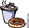 Vector Clip Art image  of a coffee and chocolate donut