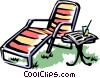 Vector Clip Art picture  of a Lounge chair with lemonade