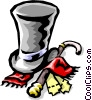 Vector Clipart illustration  of a formal hat with cane and scarf