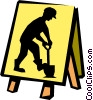 Vector Clipart graphic  of a men working sign