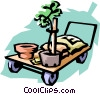 trolley with plants Vector Clip Art graphic