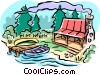 Vector Clipart graphic  of a Cottage landscape