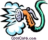 Vector Clipart graphic  of a garden hose spraying
