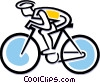 Cyclist in a race Vector Clip Art graphic